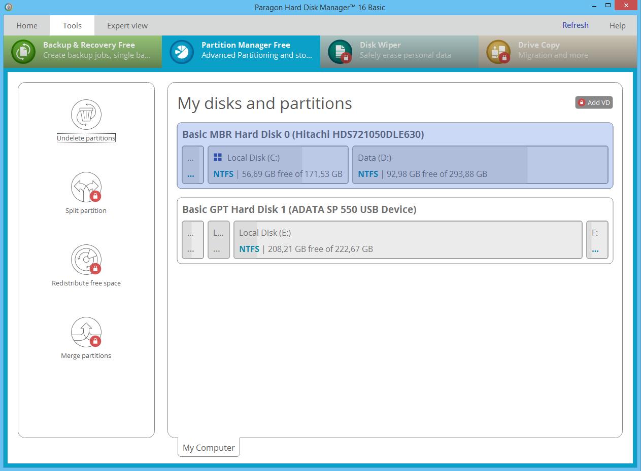 Paragon Partition Manager Free. Optimize Hard Drive storage on Windows. Screenshot.
