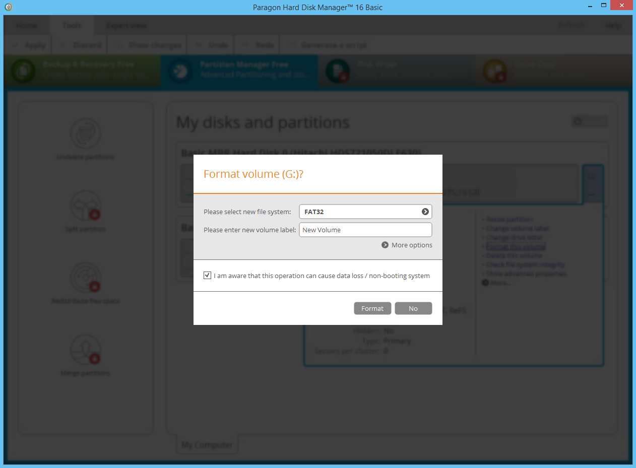 Paragon Partition Manager Free. Format hard disk partitions. Screenshot.
